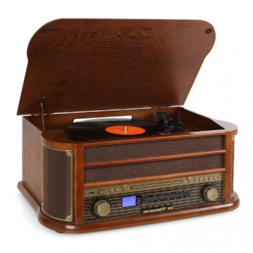 """Auna """"Belle Epoque 1908"""" Retro-Stereoanlage Musiktruhe Musikanlage mit Plattenspieler (MP3-fähiger USB-Slot, CD-Spieler, Kassettendeck & Radio) braun - 1"""