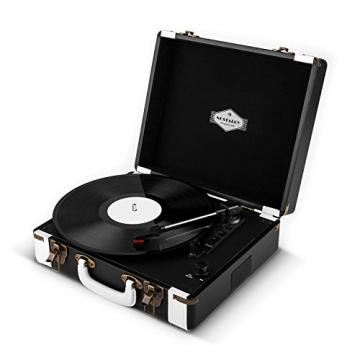 Auna Jerry Lee Retro Koffer Schallplattenspieler USB Plattenspieler zum digitalisieren ( mit Tragegriff, 2 Lautsprecher, Nostalgie-Design) schwarz-weiß - 6