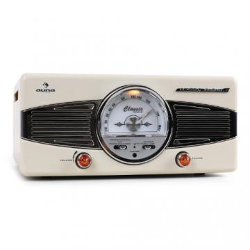 Auna MG-TT-82C Nostalgie Plattenspieler 50er Jahre Retro-Look Schallplattenspieler (UKW/MW-Radiotuner, integr. Lautsprecher, Riemenantrieb) creme - 2