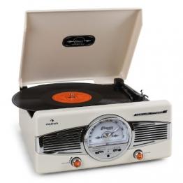 Auna MG-TT-82C Nostalgie Plattenspieler 50er Jahre Retro-Look Schallplattenspieler (UKW/MW-Radiotuner, integr. Lautsprecher, Riemenantrieb) creme - 1