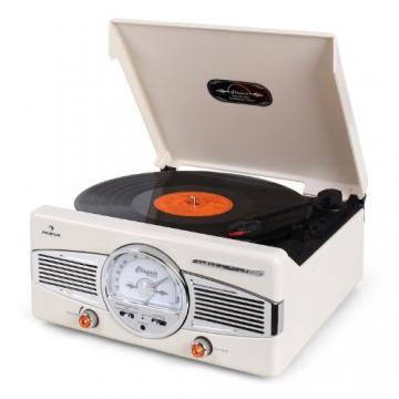 Auna MG-TT-82C Nostalgie Plattenspieler 50er Jahre Retro-Look Schallplattenspieler (UKW/MW-Radiotuner, integr. Lautsprecher, Riemenantrieb) creme - 5