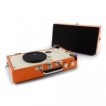 Auna Nostalgy Buckingham Kofferplattenspieler 50er Jahre Retro Schallplattenspieler im Koffer ( inkl. Tonabnehmersystem, 3 Geschwindigkeiten, Holz-Gehäuse mit Kunstleder-Bezug, AUX-IN, tragbar) orange - 3