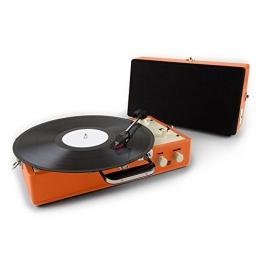 Auna Nostalgy Buckingham Kofferplattenspieler 50er Jahre Retro Schallplattenspieler im Koffer ( inkl. Tonabnehmersystem, 3 Geschwindigkeiten, Holz-Gehäuse mit Kunstleder-Bezug, AUX-IN, tragbar) orange - 1