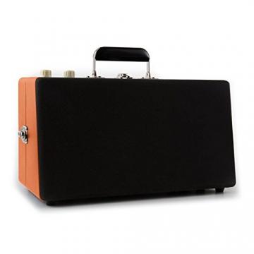 Auna Nostalgy Buckingham Kofferplattenspieler 50er Jahre Retro Schallplattenspieler im Koffer ( inkl. Tonabnehmersystem, 3 Geschwindigkeiten, Holz-Gehäuse mit Kunstleder-Bezug, AUX-IN, tragbar) orange - 4