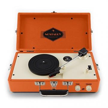 Auna Nostalgy Buckingham Kofferplattenspieler 50er Jahre Retro Schallplattenspieler im Koffer ( inkl. Tonabnehmersystem, 3 Geschwindigkeiten, Holz-Gehäuse mit Kunstleder-Bezug, AUX-IN, tragbar) orange - 5