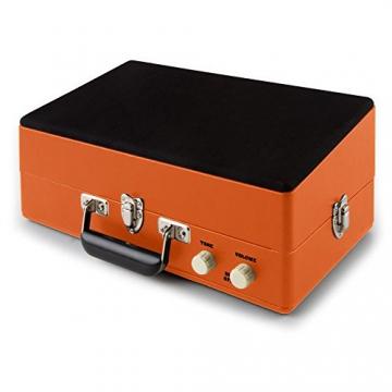 Auna Nostalgy Buckingham Kofferplattenspieler 50er Jahre Retro Schallplattenspieler im Koffer ( inkl. Tonabnehmersystem, 3 Geschwindigkeiten, Holz-Gehäuse mit Kunstleder-Bezug, AUX-IN, tragbar) orange - 6