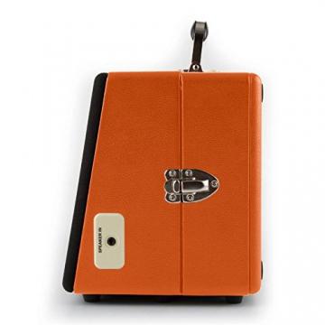 Auna Nostalgy Buckingham Kofferplattenspieler 50er Jahre Retro Schallplattenspieler im Koffer ( inkl. Tonabnehmersystem, 3 Geschwindigkeiten, Holz-Gehäuse mit Kunstleder-Bezug, AUX-IN, tragbar) orange - 8