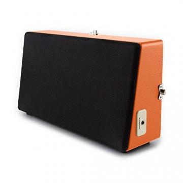 Auna Nostalgy Buckingham Kofferplattenspieler 50er Jahre Retro Schallplattenspieler im Koffer ( inkl. Tonabnehmersystem, 3 Geschwindigkeiten, Holz-Gehäuse mit Kunstleder-Bezug, AUX-IN, tragbar) orange - 9