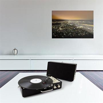 Auna Nostalgy Buckingham Tragbarer Retro-Schallplattenspieler Aktenkoffer Plattenspieler mit Lautsprecher (AUX-IN, inkl. Tonabnehmersystem, 3 Geschwindigkeiten, Holz-Koffer mit Kunstleder-Bezug) schwarz - 2