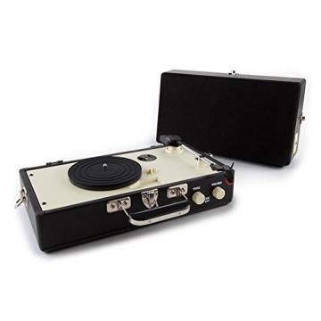 Auna Nostalgy Buckingham Tragbarer Retro-Schallplattenspieler Aktenkoffer Plattenspieler mit Lautsprecher (AUX-IN, inkl. Tonabnehmersystem, 3 Geschwindigkeiten, Holz-Koffer mit Kunstleder-Bezug) schwarz - 3