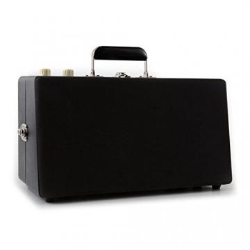 Auna Nostalgy Buckingham Tragbarer Retro-Schallplattenspieler Aktenkoffer Plattenspieler mit Lautsprecher (AUX-IN, inkl. Tonabnehmersystem, 3 Geschwindigkeiten, Holz-Koffer mit Kunstleder-Bezug) schwarz - 4