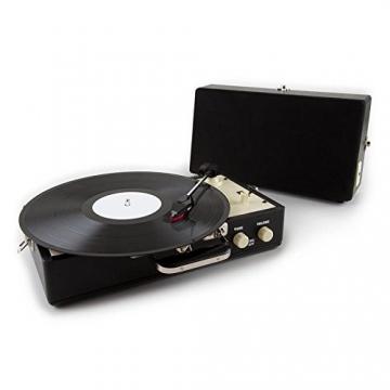 Auna Nostalgy Buckingham Tragbarer Retro-Schallplattenspieler Aktenkoffer Plattenspieler mit Lautsprecher (AUX-IN, inkl. Tonabnehmersystem, 3 Geschwindigkeiten, Holz-Koffer mit Kunstleder-Bezug) schwarz - 1