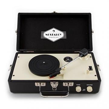 Auna Nostalgy Buckingham Tragbarer Retro-Schallplattenspieler Aktenkoffer Plattenspieler mit Lautsprecher (AUX-IN, inkl. Tonabnehmersystem, 3 Geschwindigkeiten, Holz-Koffer mit Kunstleder-Bezug) schwarz - 5