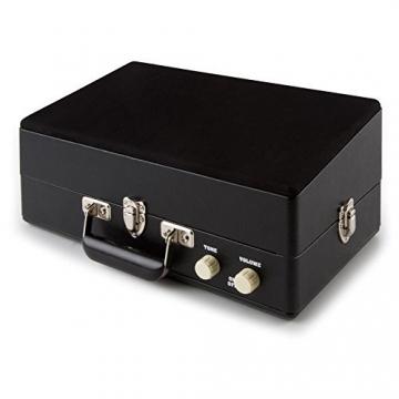 Auna Nostalgy Buckingham Tragbarer Retro-Schallplattenspieler Aktenkoffer Plattenspieler mit Lautsprecher (AUX-IN, inkl. Tonabnehmersystem, 3 Geschwindigkeiten, Holz-Koffer mit Kunstleder-Bezug) schwarz - 6