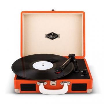 Auna Peggy Sue Koffer Plattenspieler Retro Schallplattenspieler (USB, digitalisieren, mit 2 Lautsprecher, Trage-Griff, Nostalgie-Design) orange - 1