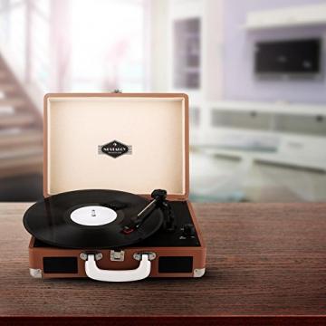 Auna Peggy Sue Retro Schallplattenspieler USB Plattenspieler zum digitalisieren (mit 2 Lautsprecher, Trage-Griff, Nostalgie-Koffer-Design) braun - 2