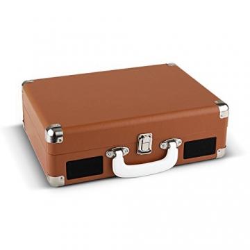 Auna Peggy Sue Retro Schallplattenspieler USB Plattenspieler zum digitalisieren (mit 2 Lautsprecher, Trage-Griff, Nostalgie-Koffer-Design) braun - 3