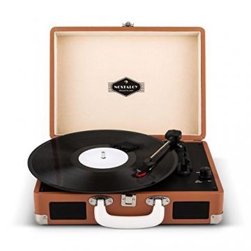 Auna Peggy Sue Retro Schallplattenspieler USB Plattenspieler zum digitalisieren (mit 2 Lautsprecher, Trage-Griff, Nostalgie-Koffer-Design) braun - 4