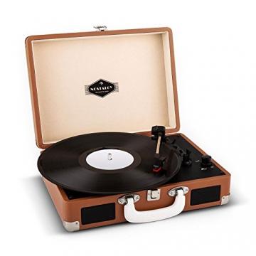 Auna Peggy Sue Retro Schallplattenspieler USB Plattenspieler zum digitalisieren (mit 2 Lautsprecher, Trage-Griff, Nostalgie-Koffer-Design) braun - 1
