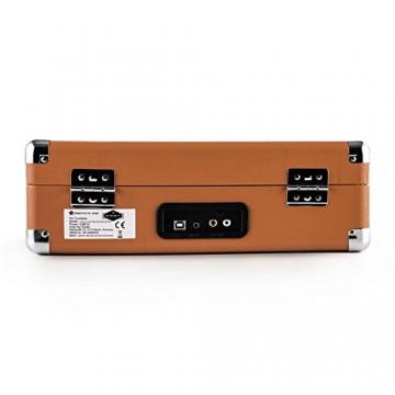 Auna Peggy Sue Retro Schallplattenspieler USB Plattenspieler zum digitalisieren (mit 2 Lautsprecher, Trage-Griff, Nostalgie-Koffer-Design) braun - 5