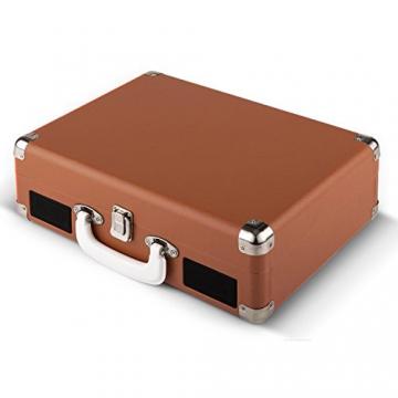 Auna Peggy Sue Retro Schallplattenspieler USB Plattenspieler zum digitalisieren (mit 2 Lautsprecher, Trage-Griff, Nostalgie-Koffer-Design) braun - 6