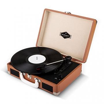 Auna Peggy Sue Retro Schallplattenspieler USB Plattenspieler zum digitalisieren (mit 2 Lautsprecher, Trage-Griff, Nostalgie-Koffer-Design) braun - 7