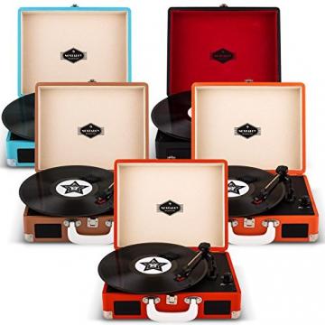 Auna Peggy Sue Retro Schallplattenspieler USB Plattenspieler zum digitalisieren (mit 2 Lautsprecher, Trage-Griff, Nostalgie-Koffer-Design) braun - 8