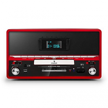 Auna RTT 1922 Retro-Stereoanlage Hifi Kompaktanlage im 50er 60er Jahre Vintage Look (MP3-fähiger CD-Player, USB, UKW-Radio, Plattenspieler, AUX, Fernbedienung, Aufnahmefunktion) rot - 2
