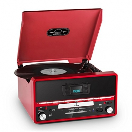 Rote Retro-Stereoanlage mit integriertem Plattenspieler