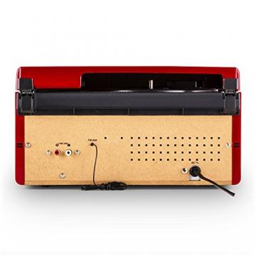 Auna RTT 1922 Retro-Stereoanlage Hifi Kompaktanlage im 50er 60er Jahre Vintage Look (MP3-fähiger CD-Player, USB, UKW-Radio, Plattenspieler, AUX, Fernbedienung, Aufnahmefunktion) rot - 4