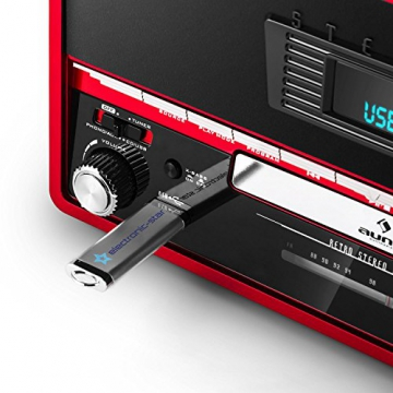 Auna RTT 1922 Retro-Stereoanlage Hifi Kompaktanlage im 50er 60er Jahre Vintage Look (MP3-fähiger CD-Player, USB, UKW-Radio, Plattenspieler, AUX, Fernbedienung, Aufnahmefunktion) rot - 5