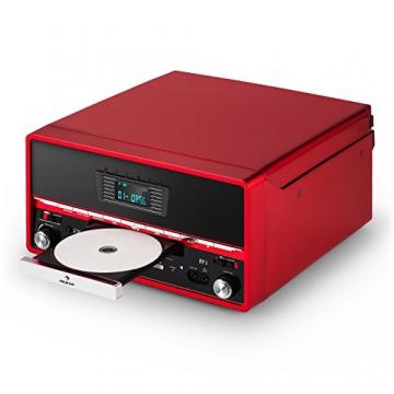 Auna RTT 1922 Retro-Stereoanlage Hifi Kompaktanlage im 50er 60er Jahre Vintage Look (MP3-fähiger CD-Player, USB, UKW-Radio, Plattenspieler, AUX, Fernbedienung, Aufnahmefunktion) rot - 6