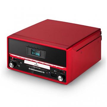 Auna RTT 1922 Retro-Stereoanlage Hifi Kompaktanlage im 50er 60er Jahre Vintage Look (MP3-fähiger CD-Player, USB, UKW-Radio, Plattenspieler, AUX, Fernbedienung, Aufnahmefunktion) rot - 7
