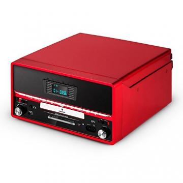 Auna RTT 1922 Retro-Stereoanlage Hifi Kompaktanlage im 50er 60er Jahre Vintage Look (MP3-fähiger CD-Player, USB, UKW-Radio, Plattenspieler, AUX, Fernbedienung, Aufnahmefunktion) rot - 8