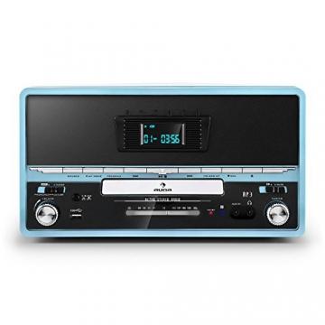 Auna RTT 1922 Vintage Stereoanlage Retro Kompaktanlag mit MP3-fähigen CD-Player (Plattenspieler, UKW-Radio, USB, Aufnahmefunktion, AUX) blau - 2