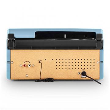 Auna RTT 1922 Vintage Stereoanlage Retro Kompaktanlag mit MP3-fähigen CD-Player (Plattenspieler, UKW-Radio, USB, Aufnahmefunktion, AUX) blau - 4