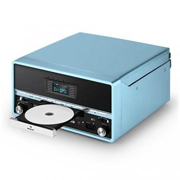 Auna RTT 1922 Vintage Stereoanlage Retro Kompaktanlag mit MP3-fähigen CD-Player (Plattenspieler, UKW-Radio, USB, Aufnahmefunktion, AUX) blau - 6