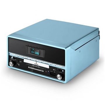 Auna RTT 1922 Vintage Stereoanlage Retro Kompaktanlag mit MP3-fähigen CD-Player (Plattenspieler, UKW-Radio, USB, Aufnahmefunktion, AUX) blau - 7