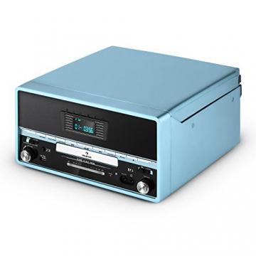 Auna RTT 1922 Vintage Stereoanlage Retro Kompaktanlag mit MP3-fähigen CD-Player (Plattenspieler, UKW-Radio, USB, Aufnahmefunktion, AUX) blau - 8
