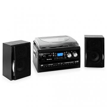 auna stereoanlage kompakt hifi anlage mit plattenspieler. Black Bedroom Furniture Sets. Home Design Ideas