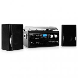 Auna Stereoanlage Kompakt Hifi Anlage mit Plattenspieler (Doppel-CD-Player mit Aufnahmefunktion, UKW-Radio, AUX, Kassette) schwarz - 1