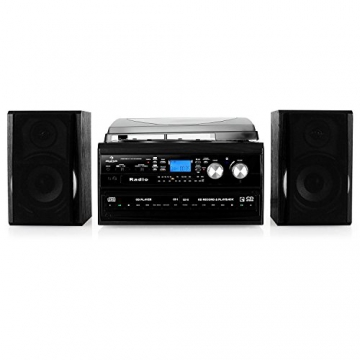 Auna Stereoanlage Kompakt Hifi Anlage mit Plattenspieler (Doppel-CD-Player mit Aufnahmefunktion, UKW-Radio, AUX, Kassette) schwarz - 4