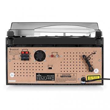 Auna Stereoanlage Kompakt Hifi Anlage mit Plattenspieler (Doppel-CD-Player mit Aufnahmefunktion, UKW-Radio, AUX, Kassette) schwarz - 5
