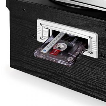 Auna Stereoanlage Kompakt Hifi Anlage mit Plattenspieler (Doppel-CD-Player mit Aufnahmefunktion, UKW-Radio, AUX, Kassette) schwarz - 6