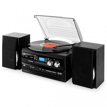 Auna Stereoanlage Kompakt Hifi Anlage mit Plattenspieler (Doppel-CD-Player mit Aufnahmefunktion, UKW-Radio, AUX, Kassette) schwarz - 9