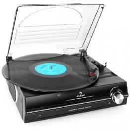 Auna TBA-298 Schallplattenspieler Automatik-Plattenspieler mit Lautsprecher (Riemenantrieb, 2 Geschwindigkeiten - 33 oder 45 U/min, Auto Start/Stopp Funktion, inkl. Tonabnehmer) schwarz - 1