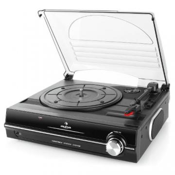 Auna TBA-298 Schallplattenspieler Automatik-Plattenspieler mit Lautsprecher (Riemenantrieb, 2 Geschwindigkeiten - 33 oder 45 U/min, Auto Start/Stopp Funktion, inkl. Tonabnehmer) schwarz - 6