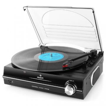 Auna TBA-298 Schallplattenspieler Automatik-Plattenspieler mit Lautsprecher (Riemenantrieb, 2 Geschwindigkeiten - 33 oder 45 U/min, Auto Start/Stopp Funktion, inkl. Tonabnehmer) schwarz - 7
