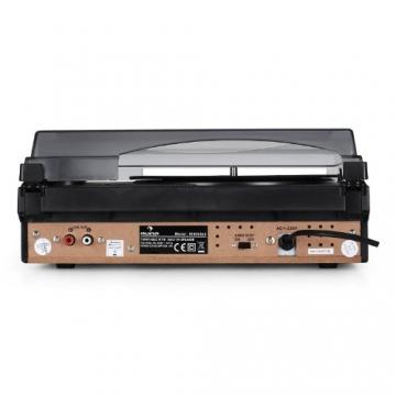 Auna TBA-298 Vinyl Plattenspieler Schallplattenspieler mit integr. Lautsprecher (laufruhiger Riemenantrieb, 2 Geschwindigkeiten, inkl. Nadel) silber-schwarz - 3