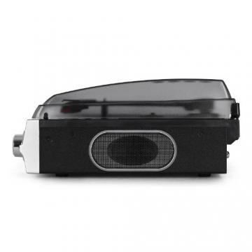 Auna TBA-298 Vinyl Plattenspieler Schallplattenspieler mit integr. Lautsprecher (laufruhiger Riemenantrieb, 2 Geschwindigkeiten, inkl. Nadel) silber-schwarz - 4